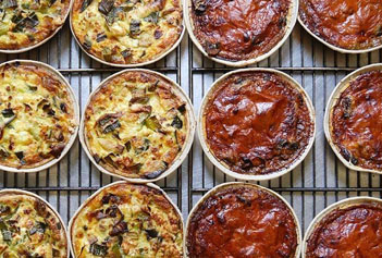 quiches sortant du four